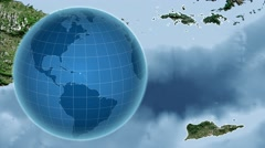 United States Virgin Islands and Globe. Satellite - stock footage