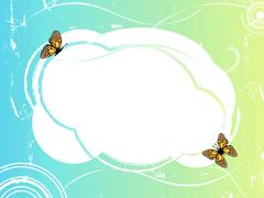 blue green frame with butterflies  - stock illustration