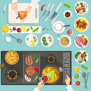 Chef Workplace Top View - stock illustration