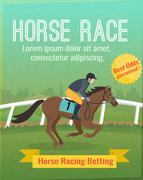 Horse Racing Poster - stock illustration