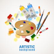 Artistic Background With Palette And Paints - stock illustration