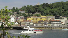 Oporto from Gaia over Douro River. Stock Footage