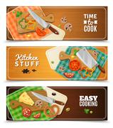 Cooking Horizontal Banners - stock illustration