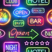 Neon Sign Seamless Pattern Piirros