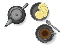 Tea crockery, still life - stock illustration