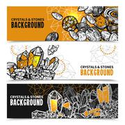 Crystals And Stones Horizontal Banners Set Stock Illustration