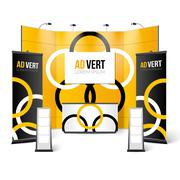 Exhibition Stand Black Yellow Design Stock Illustration