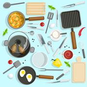 Chef Workplace Top View Set - stock illustration