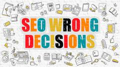 Multicolor SEO Wrong Decisions on White Brickwall. Doodle Style - stock illustration