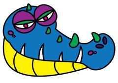Ugly alligator monster Stock Illustration