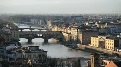 Arno River and Ponte Vecchio, Florence, Italy, EU, Europe Stock Footage