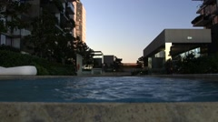 Infinity pool for urban flats or apartments, track down Stock Footage
