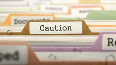 File Folder Labeled as Caution - stock illustration