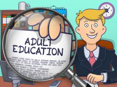 Adult Education through Magnifier. Doodle Style Stock Illustration