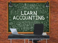 Chalkboard on the Office Wall with Learn Accounting Concept - stock illustration