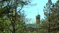 Dome of the Orthodox Church in the middle of trees Stock Footage