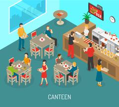 Workplace Canteen Lunch Isometric Poster Illustration - stock illustration