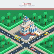 Isometric City Constructor With Hospital Building - stock illustration