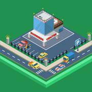 Business Center Isometric Illustration Stock Illustration