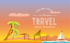 The journey to a tropical island - stock illustration