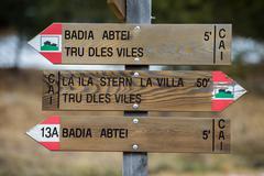 Dolomites tracks sign close up detail Stock Photos