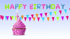 Happy birthday with cupcake and candle on a blue background Stock Footage