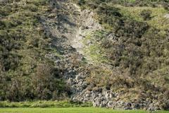 landslip landslide in tuscany hills landscape on sunny spring day - stock photo
