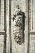 Milan Dome gothic Cathedral statue detail Stock Photos