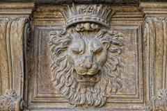 Florenze palazzo pitti lion statue bas relief - stock photo