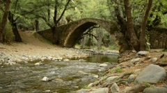 Mountain river flows under the medieval Venetian bridge Stock Footage