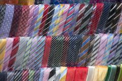 italian made silk tie on display stand - stock photo