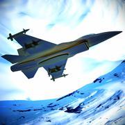 Fighter jet flying against a blue sky, 3d illustration - stock illustration