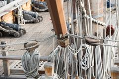 old pirate vessel detail of shroud and rope - stock photo