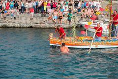 "ACI TREZZA, ITALY - JUNE, 24 2014 - San Giovanni traditional parade with ""pis Stock Photos"