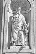 Florence Italy uffizi marble statue Dante - stock photo