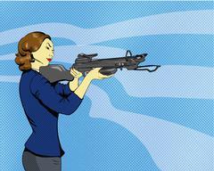 Woman with arbalest. Vector illustration in comics retro pop art style - stock illustration