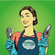 Woman with garden tools. Vector illustration in retro comic pop art style - stock illustration