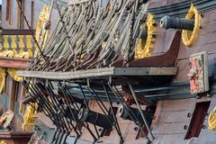 cannon on sail ship detail - stock photo