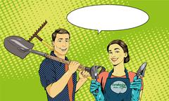 Man and woman with garden tools. Vector illustration in retro comic pop art - stock illustration
