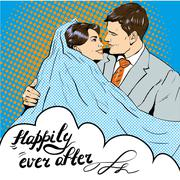 Groom kissing bride. Vector illustration in pop art retro style. Love - stock illustration