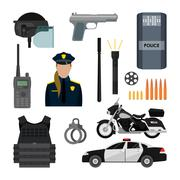 Vector set of police objects and equipment isolated on white background. Design - stock illustration