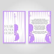 Music festival brochure flier design template. Vector concert poster - stock illustration