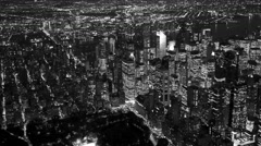 black and white background of city metropolis scenery at night - stock footage