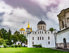 Spaso-Preobrazhensky Cathedral and Boris and Gleb Cathedral in Chernigov Stock Footage