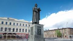 Monument to the founder of Yaroslavl - Yaroslav the Wise timelapse hyperlapse Stock Footage