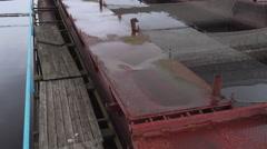 Pontoon sturgeon fish farm on a fresh water river - stock footage