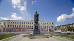 Monument to the founder of Yaroslavl - Yaroslav the Wise timelapse hyperlapse Stock Footage