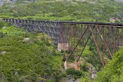 Yukon Gold Rush old Train wood and iron bridge Stock Photos