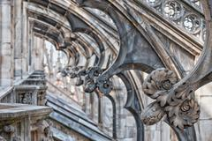 Milan Dome gothic Cathedral detail 2015 Expo - stock photo
