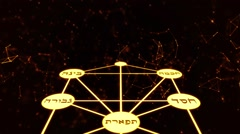 Kabbalah Golden Tree of Life with Hebrew Text on a Space Plexus Background Stock Footage
